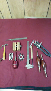 LOT OF CLOCKMAKERS TOOLS IN A VINTAGE CIGAR BOX