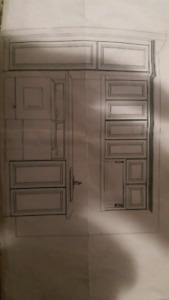 new set of laudry cabineys with counter tops / sink / faucet