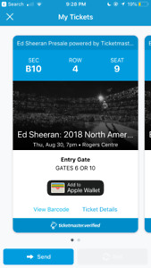 ED SHEERAN TICKET SWAP