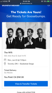 The 1975 Toronto tickets Budweiser Stage $180 for 2