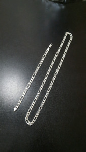 Solid 925 Sterling Silver Figaro Chain + Bracelet Combo