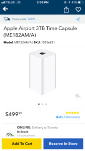 Brand new Apple time Capsule. 2 or 3 TB.  $300 or $350. Firm.