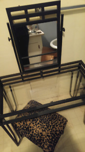 Beautiful black metal and glass with mirror Vanity