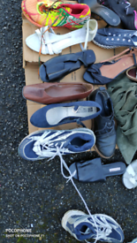 A large quantity of second hand shoes