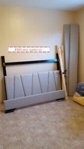 queen bed frame and various items