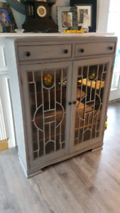 Very nice redone in grey Hutch/book/curio