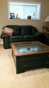 SOLD!!  LEATHER sofa & loveseat+coffee table & end table+lamps