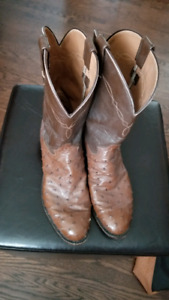 Ostrich patterned cowboy boots