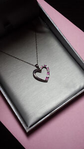 Peoples Pink Sapphire Heart Necklace