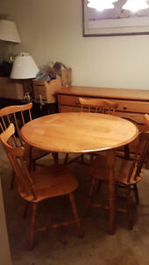 Solid Wood Round Dining Table and 4 Chairs - Made in Canada!