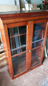 Antique book case or display cabinet.