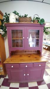 Beautiful Wood Hutch and Corner Cabinet