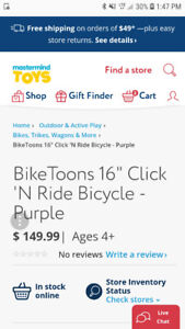 "16"" purple bike toons bike"