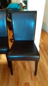 6 dinning room chair brown leather chaise cuir brun