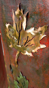 Rustic plasma cut copper and steel maple leafs on maple boards Cornwall Ontario image 9