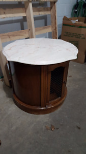 Round Dark Wood Marble Top Lamp Table