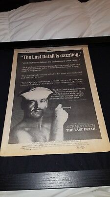 The Last Detail Jack Nicholson Rare Original Box Office Promo Poster Ad Framed!
