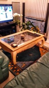 Glass and Wood Coffee Table with Wrought Iron Trim - Beige