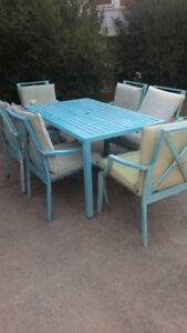 Teal patio table