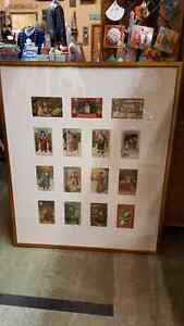 ANTIQUE CHRISTMAS CARD FRAMED COLLECTION OF 15 CARDS - ORIGINAL