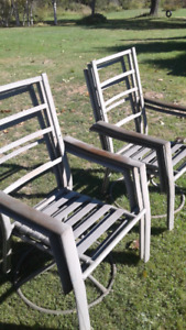 6 metal chairs