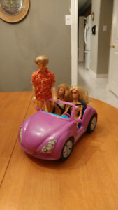 Barbie Car with Two Barbies and One Ken in Beachwear