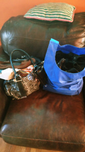 Lot of clothes, 2 bags full. purse, bag of jewelry