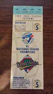 Blue Jays Ticket Stubs 1992 World Series & AL Champ 1991 AS Game