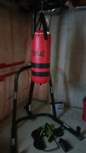 Everlast boxing bag with stand and accessories. (Call cell)