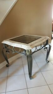 2 Ornate Faux Marble End Tables