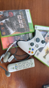 xbox 360 controller, headset, games, remote