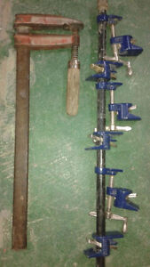 "1 Bar Clamp and 3 pairs of pipe clamp with 1/2"" metal pipe"