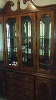 dining room table chairs, hutch and buffet