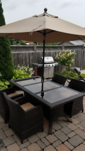Patio Set Table & Chairs - wicker wrapped