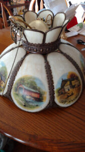 Vintage Currier and Ives ceiling lamp