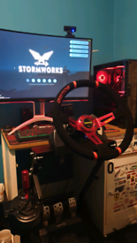 "Logitech g920 with custom 15"" momo wheel and gear stick,"