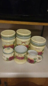 3 piece Canister set, sugar and creamer set