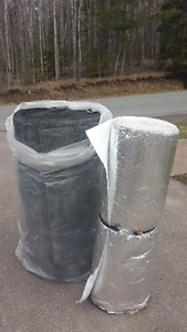assorted duct work and duct insulation