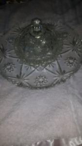 Crystal serving plate and candy dish