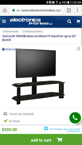 Black aluminum and glass tv stand
