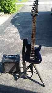 Ibanez electric guitar and roland cube 15 amp