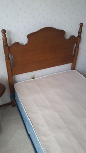 Like New Single Bed with Box Spring and Solid Maple Headboard