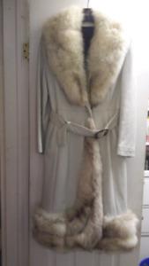 Classic White Leather Coat  W' Real Fur Trim