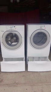 Whirlpool front load washer dryer with pedestals