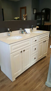 "60"" WHITE RAISED PANEL DOUBLE VANITY"