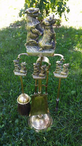 Old Solid Sealy English Brass Scottie Dog Fireplace Set