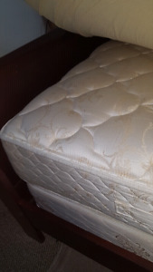 mattress , queen size bad frame, with covert and pillows