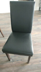 Set of 5 Black Leather Kitchen Dining Chairs Delivery Available