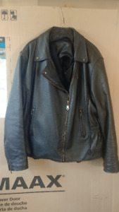 Woman's XXL Leather Black Motorcycle Jacket with zip out lining