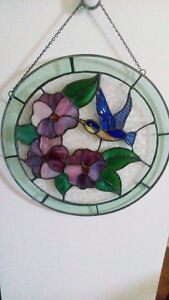 home decor item stained glass hummingbird on the flowers